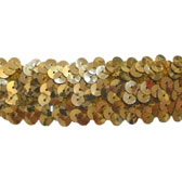 Elastic sequin trim, 3 rows, 1,2 wide - GOLD