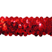 Elastic sequin trim, 3 rows, 1,2 wide - RED