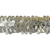 Elastic sequin trim, 3 rows, 1,2 wide - SILVER