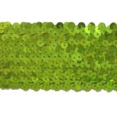 Elastic sequin trim, 6 rows, 2.4 wide - GREEN FLASH 7112