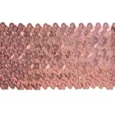 Elastic sequin trim, 6 rows, 2.4 wide - LIGHT ROSE