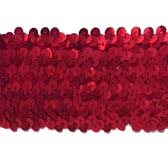 Elastic sequin trim, 6 rows, 2.4 wide - RED