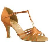 Latin női tánccipő  2.5´´ Kiszélesedő sarokkal : Freed of London Holly model - DARK TAN SATIN