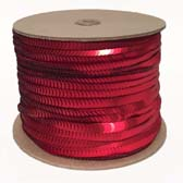 1 row 6 mm elastic, metal shining cup sequin - RED